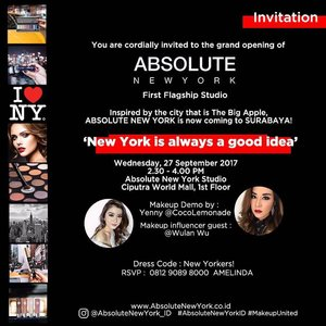 "New York is Calling! Celebrating the latest makeup brand @AbsoluteNewYork_ID studio opening in Surabaya at @CiputraWorldSby with special appearance of @YennyLemonade and gorgeous beauty influencer @WulanWu. Do you want to join?  How? Simply repost this image, put your comment in this post with ""I should attend this event because..."" with #AbsoluteNewYorkSurabaya #KATHGiveaway and tag 3 of your friends . . I will only pick 10 lucky winners to attend this event with me!  The winner will be announced on Sept 27th, 2017 and you will get goodies from Absolute New York! . Let's Join! . #AbsoluteNewYorkID #Giveaway#GiveawayIndonesia #bloggerindonesia #lookbookindonesia #beautyguru #beautyvlogger #beautyblogger #clozetteid #bloggerstyle #fashionblogger #fashionstyle #fashionindo #indonesianbeautyblogger #indonesian_blogger #indonesiabeautyblogger #youtubeasia #youtuberindonesia #clozetteambassador #beautyindonesia #indobeautygram#stylehaul #cgstreetstyle #ggreptrend #ggrep #ootd"