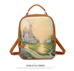WINDMILL backpack - kulit pu - L24 W6 H30 - 650gr - zipper+long strap