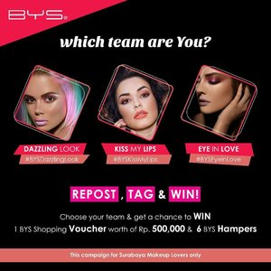 Ladies in Surabaya.... Which Team Are You? #BYSDazzlingPink #BYSKissMyLips or #BYSEyeinLove? Repost this poster, choose your team and get ready to win 6 hampers and 1 BYS Shopping Voucher woth of Rp. 500,000,- . . We are looking for 2 winners for each team, and total 6 winners will join BYS Valentine's Makeup Challenge with @mgirl83, which will be held on Saturday, 27 January 2018, 1 – 3 PM at BYS Studio Pakuwon Mal Surabaya. . . Are you ready? SO, choose your team now and let's accept the challenge!!! #BYS #BYSIndonesia #BYSCosmetics #MakeupChallenge  #clozetteid #makeup  #sbybeautyblogger #bloggerceria #beautynesiamember #blogger #bbloggerid #beautyblogger  #indonesianblogger #indonesianbeautyblogger #surabaya #surabayablogger #surabayabeautyblogger #influencer #beautyinfluencer #surabayainfluencer #influencersurabaya #makeupsession #event #infosurabaya #makeupcompetition #recreatemakeup #repostandwin