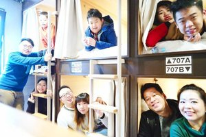 "Good morning!  Today's photo is an overexposed,  major throwback from our stay in @emblemhostelnishiarai in Tokyo back in January 😝. Sorry for the ""awesome"" quality,  it wasn't easy to snap this pic of 3 families crammed in the 6 capsule bunkbeds while the camera's balancing on another bed and we had to smile insanely to activate the smile recognition feature!  More on the trip can be read here : http://bit.ly/jap2017part1 , part 2 will be airing today!  #majorthrowback #japan #pinkinjapan #japan2017 #emblemhostelnishiarai #family #trip #travel #japantrip #tokyo #pinkintokyo #jalanjalan #wanderlust #blogger #clozetteid #beautynesiamember #bloggerceria #influencer #travelblogger #indonesianblogger #indonesiantravelblogger #surabayablogger #surabayatravelblogger #mummyblogger #funtime #exploringjapan #ilovejapan #instatravel #wintertrip"
