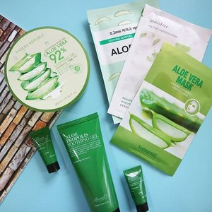 This is some of aloe products I'm currently using:• Benton Aloe Propolis Soothing Gel• ‎Nature Republic Aloe Vera 92% Soothing Gel• ‎Shangpree Aloe Vera Mask• ‎Etude House 0.2mm Aloe Mask• ‎Innisfree My Real Squeeze Mask Aloe.To be honest I don't really like the Nature Republic because of its alcohol (but am still trying to figure out the benefits for my skin hahaha). My forehead became red and still feel burning the next day, a lil bit burning sensation. This also applied when I use the Innisfree Aloe mask (see my review on #skincaretips highlight), but luckily no other negative reactions beside my face became red. Benton Aloe Propolis is my favorite gel, it soothes, cools, and at the same time hydrates my skin. The Shangpree mask is also one of my favorites for a quick soothing methods and it's affordable too! The Etude House mask is very comfortable because its thin mask but the effect is just so so. What's your favorite aloe products? Let me know❤.PS: This review is based on my personal experience, all opinions are not influenced by the brand. But again YMMV🙏.#gegeciellaskincare #clozetteid #charisceleb #lykeambassador#abcommunity #abbeatthealgorithm #asianbeauty #koreanbeauty #asianskincare #kbeauty #sheetmasking