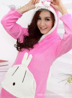 Gorgeous Rabbit Hem and Leg Bottom Hooded Lovely Pajama Suit Sleepwear : Tidebuy.com