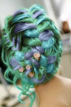 Green Braids mix with purple