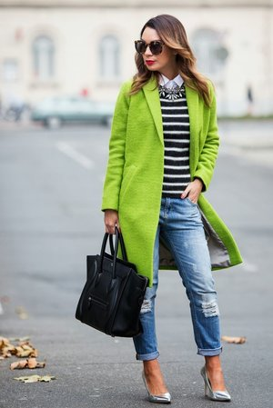 Stylish  with Lime Green & Navy Stripes
