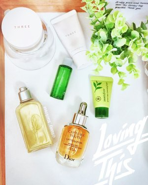 My morning 💛💚🧡 while away 🧡💚💛 #skincare #skincareroutine #skincarepost #iloveskincare #skincarekorea #skincarejapan #threecosmetics #dior #innisfree #shuuemura #loccitane #getready #getreadywithme #beautyblogger #beautylover #clozette #clozetteid