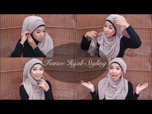 "<div class=""photoCaption"">Festive hijab styling using a curved shawl 