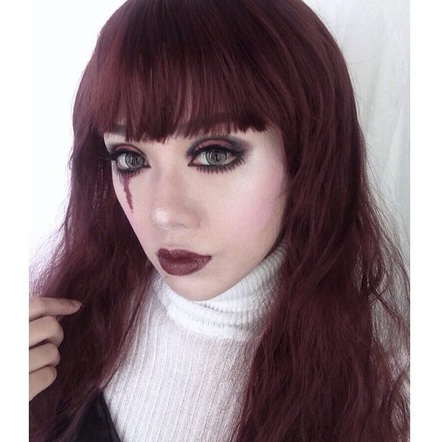 Another Twist Of Gothic Doll Makeup Inspired By Kinashen Products Used Lens Puffy 3tones Grey From Zendiixsoftlens LA Girl Pro Coverage HD