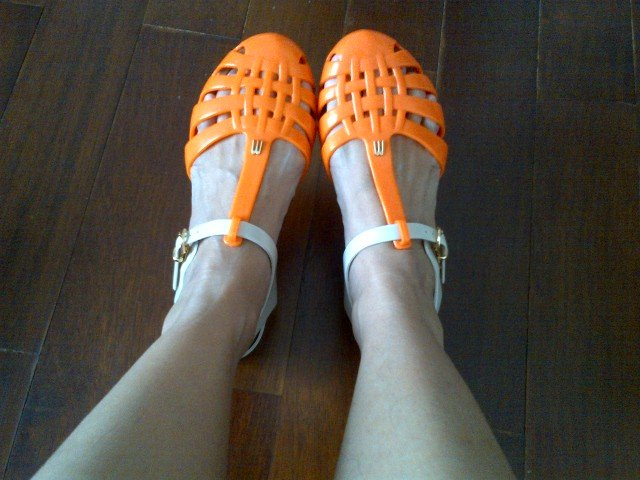Just add to the closets, beige orange Aranha Melissa Jelly Shoes