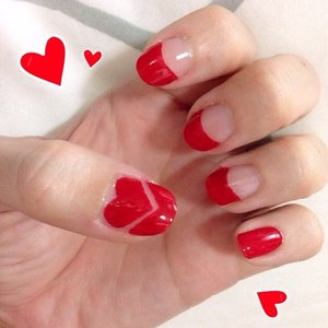 DIY bright red nails for #cny2015 #rimmellondon 60 seconds nail polish with #essie good to go topcoat  #clozette #beauty #nails