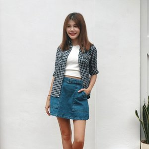 """New favourite denim skirt OMG 😍 Quote """"Maybeline"""" for 10% off at @anticlockwisesg! #maybelineootd"""