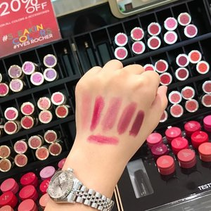 Popped by @yvesrochersg  yesterday and saw that they just launched a range of Makeup and Nail products ! They're having a 20% off from beauty products and special discount for nails polish too ✌🏼️ Here's swatches of the Lip Colours 💄#clozette