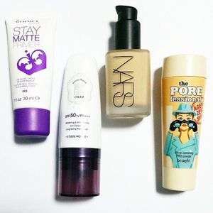 I've been using these 4 products everyday this last week! Replaced my Estee Lauder DW with the NARS sheer matte when I found out that the new NARS foundation replaces this sheer matte! 😭 I know this is a lot but I have extremely oily skin & even with all these products & a setting spray, oil still seeps through after 3 hours! I use a light hand with these & only apply a thin layer so that I don't look cakey!  It's finally the weekend and I can't wait to relax!  #clozette #instamakeup #instabeauty #igsgmakeup #igsgbeauty #sgigmakeup #sgigbeauty #makeupchat #makeuptalk #makeuplover #makeupaddict #foundation #allaboutthatbase #benefitsg #narssg #etudehousesg #rimmellondon #zebbyzelf #kflowermaquillage #jalapenopopperz #beatfacefriday #nancys0fresh #trendmood #lipstickjunkieforever #sgblogger #sgbeauty #sgmakeup #beautysg #makeupsg #beautyblogger