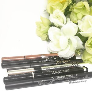 These are my top eyeliners that I will recommend to others!  They last a good while on my oily eyelids, easy to use, black & pigmented and stays put for most parts!  #mshlabo Love Liner Liquid #stila Stay All Day liquid eye liner #clio Kill Black Brush Liner #physiciansformula Eye Booster Eyeliner #mkup Illegal Black Eyeliner #katvond Tattoo Liner  #clozette #igmakeup #instamakeup #sgmakeup #sgblogger #beautyblogger #bblogger #motw #makeuplover #makeupaddict #makeupcrazy #makeupjunkie #makeupchat #makeupporn #makeuptalk #wakeupandmakeup #trendmood #igers #flatlay #makeuphoarder #makeup #instalike #eyeliner #liquidliner