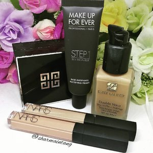 These are the products I used over the weekend! They are what I reach for when I want a long wearing base!  #makeupforever Mattifying Primer #esteelauder Double Wear Foundation #nars Creamy Concealer #givenchybeauty Poudre Premiere  Anyway no Monday Blues for me as I'm jetting off tonight! 🛩️🛩️🛩️ #clozette #igmakeup #instamakeup #sgmakeup #sgblogger #beautyblogger #bblogger #makeuplover #makeupaddict #makeupcrazy #makeupjunkie #makeupchat #makeupporn #makeuptalk #trendmood #meccabeautyjunkie #igers  #flatlay #makeuphoarder #makeup #glam #instalike