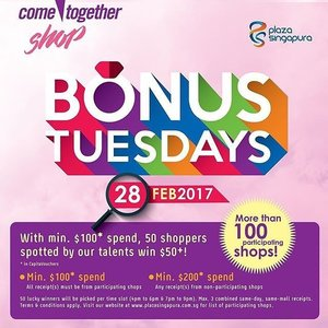 @PlazaSingapura is having a #PSBonusTuesday event on 28th Feb with up to 100 participating stores, including brands like Esprit, SpotLight and Pandora. Don't miss this opportunity to buy your favourite items from #PlazaSingapura and earn Cashback! Check out http://bit.ly/2miwaaq for more info!  @StarNgage #PlazaSingapuraxStarNgage #sponsored