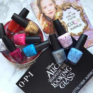 It's Alice everywhere~! Opi now has 8 gorgeous shades in collaboration with Alice Through The Looking Glass in cute shade names like Oh My Majesty! (pearly alabaster), Fearlessly Alice (cerulean blue), Having A Big Head Day (hot red), and What's The Hatter With You (burgundy) 💅  #Opi #opigelcolor #opinails #alicethroughthelookingglass #nails #nail #nailstagram #nailpolish #nailpolishaddict #notd #beauty #beautyblog #beautyblogger #clozette #skincare #skincareblogger  #beautyaddict #bblogger #instalove  #makeup #makeupjunkie #makeupaddict #makeupstash