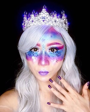 She is a QUEEN 👸🏼. Her soul is royalty. ---- Key products: ✨ @nyxcosmetics_sg Total Control Drop Foundation in Vanilla, Retractable Eye Liner in White, Liquid Liner in White ✨ @juviasplace Masquerade Palette ✨ @delancibeautyofficial 24 Colors Glitters Eyeshadow Palette ✨ @katvondbeauty Alchemist Holographic Palette, Studded Kiss Lipstick in Coven ✨ @bhcosmetics Backlight Highlight 6 Color Palette ✨ @houseoflashes ----- #ladies_journal #queen #sfxmakeup #sfx #glittermakeup #galaxy #makeup #makeupjunkie #makeuplover #clozette #clozetteid
