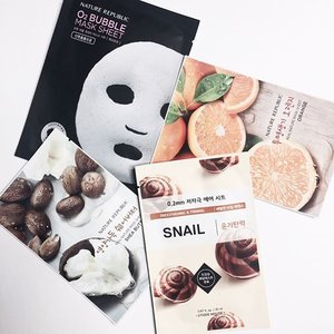 Thank you @orehrepus for the face masks 😊 Face mask is a must for me. And thank you @eileenpoo for delivering it to me hehehe ❤️❤️❤️ #ladies_journal #facemask #beauty #beautygram #kbeauty #clozette #clozetteid #naturerepublic #etudehouse  #skincare #koreanskincare