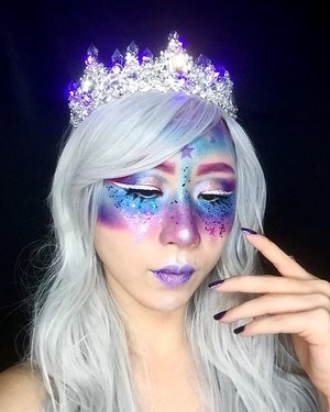 I am the Queen of the galaxy 👸🏼🌌 ✨  The stars are my souls.  Paint the stars so you still can shine in the darkness. ----- Key products: ✨ @nyxcosmetics_sg Total Control Drop Foundation in Vanilla, Retractable Eye Liner in White, Liquid Liner in White ✨ @juviasplace Masquerade Palette ✨ @delancibeautyofficial 24 Colors Glitters Eyeshadow Palette ✨ @katvondbeauty Alchemist Holographic Palette, Studded Kiss Lipstick in Coven ✨ @bhcosmetics Backlight Highlight 6 Color Palette ✨ @houseoflashes ----- #ladies_journal #queen #sfxmakeup #sfx #glittermakeup #galaxy #makeup #makeupjunkie #makeuplover #clozette #clozetteid