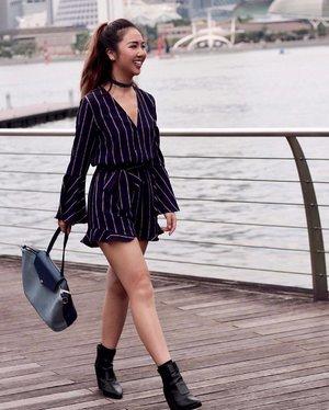 Prancing around Marina Bay in @ohvola's Marmalade Bell Sleeve Playsuit (launching on 11 May) & @sometime_byasiandesigners' Basta Bag.