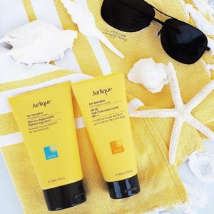 """Fun in the Sun! Perfect for Beach Weather. I'm enjoying these sun protection products from @jurliqueaus """"Sun Specialist"""" sun protection range (more of which I'll show soon). These smell wonderful and are not sticky! #Gifted Thank you so much! 这些来自Jurlique 品牌的防晒产品是太好了! 我喜欢它的快乐黄色的包装。 它们甚至给了我们一个海滩毛巾!http://www.jurlique.com.au . . . . . . . #makeup #防晒产品 #美容产品 #photographer #luxury #爱 #美丽 #wellbeingmonth #新护肤品#ausblogger #bbloggerau #thelushlife #thingsilike #mua #jurlique #sunprotection #skincare #girl #love #fashion #clozette #beachlife #prettylittlethings #digitalinfluencer #sunny #productphotography #博主 #可爱 #可愛い"""