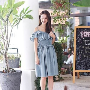 This pretty off shoulder dress is launching on @joopboutique tomorrow! It's the perfect girly piece for a day out at brunch and even for dinners! ❤ Quote <SHERI> for $10 off when you purchase a min of $60 worth of items! #joopboutique #joop #clozette