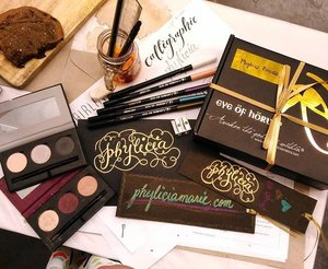 Presenting, my output! Sooo proud 😄 tested the @eyeofhorusph liners too!  Couldn't have done it without the guidance of our teacher @danikario @studiorio.co 😘💕 #EOHCoffeeandCalligraphy #EyeofHorusPH #awakenthegoddesswithin #clozette #beauty #makeup #typography #calligraphy #lettering #art