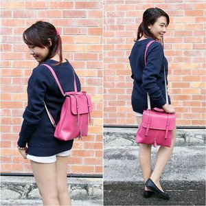 """Current bag obsession: UNISA 3-way Sling/Backpack from @zaloramy! Enjoy 15% discount with the code """"ZBAPZ2EP"""" on your purchase at zalora.com.my!  #MyNewZalora #zaloramy #zalora #unisa #bag #ootd #NicoleYieOOTD #clozette #butterflymsia"""