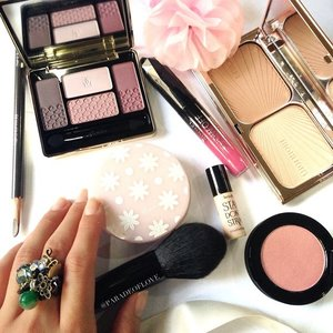 Hump Day calls for some sweetness! 💕🎀 / In my #MakeupMess today... #Guerlain quad in 17 Les Violines for a matte and soft plummy eye makeup followed by #shuuemurasg Hard 9 Seal Brown for defined brows as usual.Gave definition to my face using #CharlotteTilbury Filmstar Bronze & Glow with #Ettusais BB Compact to finish off. #Smashbox Blush Rush in Chiffon for warm glowy cheeks! Finally, #RimmelLondon Apocalips/Showoff in Nova from @poise_anj for bright pink lips!Hehe finally had time to do up an order for a loyal customer of mine and customised an emerald-themed ring for her! So, what's your midweek makeup routine? ;) #clozette