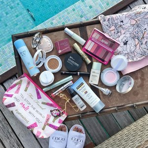 My travel essentials for a beach vacay in Maldives! Of course, I had to go for waterproof mascaras and brow gels, and lots of sun protection! 🏝 #clozette #makeup