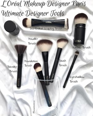 ❗️[NEW] L'Oreal Makeup Designer Paris recently released a series of synthetic brushes, the Ultimate Makeup Designer Tools, which imo, are so affordable and made of great quality! ♥️The brushes are incredibly soft and dense. The handles have a matte finish (which I LOVE) and are of a good length for easy application.... 🚩Prices of the brushes are as follows: 1. Foundation Brush (SGD$24.90) - Great for applying liquid or cream foundations... 2. Kabuki Brush (SGD$32.90) - Great for traveling, meant to buff foundation for a airbrushed finish!... 3. Blender Brush (SGD$17.90) - Multi-purpose brush for blending, buffing, stippling, bronzing & applying brusher.... 4. Powder Brush (SGD$21.90) - Fluffy brush to spread loose powder across face... 5. Blush Brush (SGD$16.90) - Angled brush to add colour to the cheeks while sculpting the cheekbones!... 6. Duo-Ended Sculpting Brush (SGD$29.90) - The Duo-Ended Sculpting Brush is even endorsed by Mario Dedivanovic, Kim Kardashian's Makeup Artist! This brush is also one of my favourites. Made to highlight and contour on each end, the curved end hugs the cheekbones seamlessly for contouring while the flat end is for applying highlights... 7. Eyeshadow Brush (SGD$13.90) - Great for applying, smudging, blending eyeshadow.... ⭐️Brushes are already out in selected Watsons, Guardians, SASA, major supermarkets & departmental stores! Do check them out! Good buy must buy!