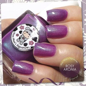Rosy Aroma by @MooMooSignatures from Moo Moo's Story Part III Moorassic collection. A violet #crelly with turquoise #shimmer. More details on this and other #polishes from the collection on alacqueredaffair.com  #nails #nailpolish #sgig #igsg #sgignails #sgnails #instanails #instasg #moomoosignatures #indiepolish #iger #clozette #ndieswatch #indienailpolish #nailswatches #bellashoot #bbloggers