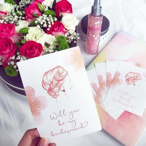 In the midst of preparing for #kentingweds and would like to thank @Miraculove_sg for sending over these gorgeous bridesmaid invitations! Check out #Miraculove for beautifully-illustrated invitations where you can even customize your own love story. 💝  Also gonna pamper my lovely bridesmaids with #MaryKay's Be Delighted sparkling body mist and body mousse because they deserve it. 💕  #clozette #clozettedaily #bedelighted #willyoubemybridesmaid #bridesmaidproposal #bridesmaidsgift #bridesmaidgift #bridesmaidsgifts #bridesmaidgiftideas