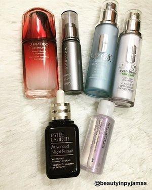 Some of my lotions and potions ✨ Current Favourite Five:  1. #Shiseido #ShiseidoSG Ultimune Power Infusing Concentrate 2. #Orbis #OrbisSG Whitening Essence 3. #Clinique #CliniqueSG Turnaround Concentrate Extra & Even Better Dark Spot Corrector 4. #EsteeLauder #EsteeLauderSG Advanced Night Repair Serum 5. #ShuUemura #ShuUemuraSG Tsuya Skin Lotion #beautyinpyjamas #clozette #skincare #beauty