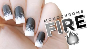 White Hot | Monochrome Drag Marble Fire Flames Nail Art - YouTube