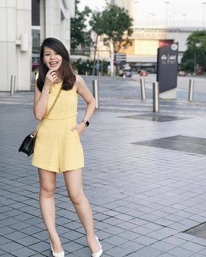 Don't wait for everything to be perfect before you enjoy your life.😊 Deck in this yellow romper from @theclosetlover for church yesterday. 😍  Fallen in love with Iphone's depth effect 😍 — Really must compliment @russelchaojy for teaching me how to pose. I was feeling awkward and had a good laugh and out came a natural shot! Do you like it? ☺️ . . . #clozette #OOTD #selca #selfstagram #love #pretty #lookoftheday #postthepeople #wiwt #sgblogger #singaporeblogger #stylexstyle #follow #followme #asians #poppyweekends #photooftheday #potd #tclootd #tcl #throwback #iger #igsg #instadaily #vscosg #vscocam #pedro #chanel #chanelboy #chanelboycaviar