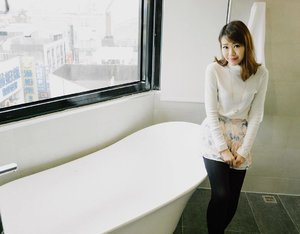 'The bath area is a large room with a bathtub, the sink/vanity area in front of the large mirror and the shower room. Its got a luxurious amount of space ..... 'Check out @simontey review of the new Orange Hotel Chiayi Taiwan! Link on my bio! 🤗🤗 #sp #clozette #fashion #fashiondiaries #fashionblogger #lookbook #ootd #instahub #explore #outfit #girl #igdaily #igers #igsg #sgblogger #today #me #selfie #portrait #vscocam #photography #sonyimages #travel #photooftheday #clairesimontravel #orangehotels #taiwan