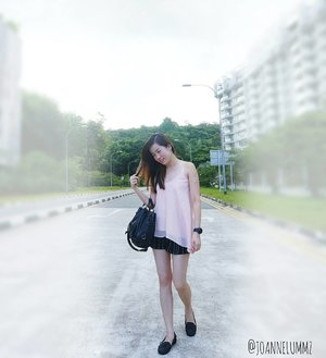 #throwback to Sunday's casual #ootd: Light Pink Keys Slant Top x Black Striped Jacquard Shorts from #bridgebyfashmob #iwearfashmob 💟 And one of my new pumps from #Taiwan! 😉 #joannelummzootd #igsg #sgig #potd #lotd #clozette #stylexstyle #latergram #getfash
