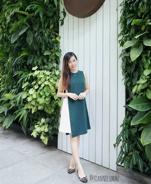 #throwback to my #ootd for my office's Christmas celebration on 22/12: Forest/Blush Latoya Contrast Layer Mini Dress from #lovebonito #lbootd 💚 Love the unique colour combi 😍 #joannelummzootd #Christmas2016 #igsg #sgig #potd #lotd #clozette #stylexstyle #latergram #getfash
