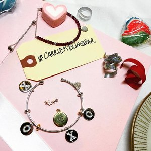 "The new #carriekblingbar collection is so pretty. The charms are so bling and dainty and there are smart stoppers on the bangle to prevent the charms from moving all over the place. N you can get your customised quote engraved on the charm too. Love this quote: ""reach for the stars"" 🌟 #Jewelry #Clozette"