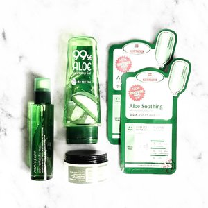 What I used to sooth allergies! As it's a common question by a few, I decided to share in a post!  I spam on Aloe Vera. Very. Intensively.  As list: #Innisfree Aloe Vera Revital Mist #EtudeHouse 99% Aloe Soothing Gel #Cosrx Aloe Vera Oil Free Moisture Cream #LeadersInsolution Aloe Soothing Skin Clinic Mask  Sorry for the poor photo quality as it was taken in a rush and under bad lighting 🙊  What's your favourite soothing product/s? 😋  #clozette #rasianbeauty