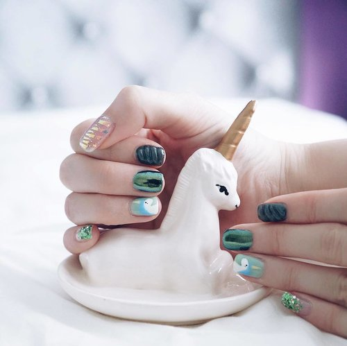 """<div class=""""photoCaption"""">Being a person is too complicated. Time to be a Unicorn! 🦄  Thank you Amanda of @indulgencenail for these cute unicorn-themed nails!  This month is all about dreams and make believe! Bring it on, June! ☀️🐉🌈 Quote JULIANA for 10% off all services at Nail Indulgence De Beau! Psst! Birthday peeps get an even bigger treat with an extra 5% off!  #clozette #notd</div>"""