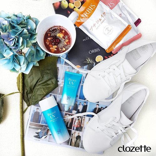 "<div class=""photoCaption"">Good morning, ladies! #FitflopSG's Spring/Summer collection is giving us major summer inspo with those sporty white sneakers! Slip those on and chase the sun in #BioreSG's Aqua Rich range while sipping on one of six flavours from #OrbisSG's Petite Shake that's made from real fruit! What are you looking forward to this Summer? #Clozette #ClozetteSHOTS #BioreCaresForYou #Orbissg</div>"