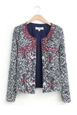Comfortable Round Neckline Blue and White Print Short Overcoat : Tidebuy.com