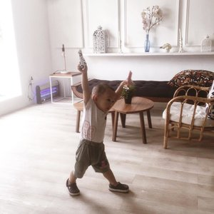Took it unplanned with camera phone. Not a quality I usually posted but why not. — let's be real. This guy is what keeping me busy and not updated with instagram for few days. No nanny, only mom and you can see from this photo, he is well... yeah. An active toddler playing around nonstop. 🙌🏻 but boy, I'm glad. And Blessed.—#momlifebelike #momlife #17months #clozetteid