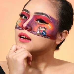 KISS ME AT MIDNIGHT UNDER THE FIREWORKS 💋🎆. . . Product deets: @lagirindonesia Primer & Pro Coverage Foundation Nude beige @nyxcosmetics_indonesia Ultimate Shadow Palette, White Matte Eyeliner, Black Eyeliner, Gold Eyeliner @urbandecaycosmetics Ultimate Palette, Eyeprimer @maybelline Fit Me Powder mehronmakeup Face painting @absolutenewyork_id contour palette, Green Cotton Candy Liner @benefitindonesia Ka - Brow gel cream tartecosmetics Shape Tape Concealer Medium sigmabeauty brush . Happy New Year Guys! Thank you for your support in 2017 and hopefully i can dazzle you even more next year . Lavvv and kiss 😘😘🎉 . . . @indobeautygram #ivgbeauty #ibv #indobeautygram #lagirlbeautyinfluencer #makeuptutorial #beautyjunkie #makeupaddict #makeupart #peachyqueenblog #urbandecayindonesia  #makeuplook #xmakeuptutsx #makeupwithregina #clozetteid #faceart #asianbeauty #bloggermafia #sfxmakeup #sfx #specialeffectmakeup #couple #nye #newyeareve #kiss #fireworks #disneyland #castle