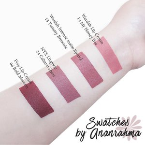 My favorite lip colors. . .  Aku mulai menyukai swatching dan lipstick setelah melihat instagram @lippielust . Bukan hanya warna yg dibagikan, dia juga selalu berbagi tips untuk melakukan suatu hal lebih baik, and here I am memulai untuk lebih baik walaupun belum perfect.  Not easy, tapi proses belajarnya menyenangkan, , , tanpa tekanan. It makes me happy all the time. Doing things for fun. There are many things to do, but at least right now aku sudah memulai :) #clozetteid #lipstick #swatch #nudelipstick #lipcreamwardah #lipcreammatte #lipcreampixy #makeup