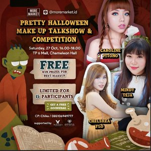 Join Makeup Competition &  Learn how to apply Pretty Halloween Makeup with@chelsheaflo @deuxcarls @mgirl83 ( Chelshea Flo, Caroline Pitono, Mindy Tedja )  by @eminacosmetics at @moremarket.idFREE entry only for 15 participants & Get a free goodiebag as participant! Prove that you are the best! 📆 Saturday, 27 October 2018⌚ 16.00 - 18.00📍 TP 6 Mall , Lt. 5 - Cameleon HallFore more information :WA : 085106949777 Line : jssicagrace--Organized by @moremarket.id 📆 26- 28 October 2018📍 @tunjungan_plaza - Cameleon Hall#moremarketchapter4 #makeupcompetition#halloween #halloweenmakeupcompetition #sbbevent #sbybeautyblogger #event #eventsurabaya #surabayaevent #halloweenmakeup #halloweenfun #halloweensurabaya #surabaya #clozetteid #beautynesiamember #bloggerceria #influencer #beautyinfluencer #influencersurabaya #surabayainfluencer #girls #tunjunganplaza #beautybloggerindonesia