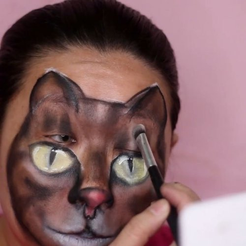 """<div class=""""photoCaption"""">🔊 sound on 🔊.""""But we lovee every caaaat..."""".Here some process of my cat face painting. You can see the full tutorial on my youtube channel, and you can find the clickable link on my bio. The tutorial voice over are in bahasa, but the step by step process are clear enough without voice over actually. I just add the voice for my own satisfaction 😎😆.-------------.Tutorial bikin kucing di wajah udh ada di  <a class=""""pink-url"""" target=""""_blank"""" href=""""http://m.clozette.co.id/search/query?term=youtubechannel&siteseach=Submit"""">#youtubechannel</a> gw. Mampir yuk 💕 gw udh bikin tuto nya sesimpel mungkin biar gampang diikutin. Moga moga bermanfaat ya 🤗.. <a class=""""pink-url"""" target=""""_blank"""" href=""""http://m.clozette.co.id/search/query?term=facepainting&siteseach=Submit"""">#facepainting</a>  <a class=""""pink-url"""" target=""""_blank"""" href=""""http://m.clozette.co.id/search/query?term=catfacepaint&siteseach=Submit"""">#catfacepaint</a>  <a class=""""pink-url"""" target=""""_blank"""" href=""""http://m.clozette.co.id/search/query?term=facepaintingkids&siteseach=Submit"""">#facepaintingkids</a>  <a class=""""pink-url"""" target=""""_blank"""" href=""""http://m.clozette.co.id/search/query?term=gambarkucing&siteseach=Submit"""">#gambarkucing</a>  <a class=""""pink-url"""" target=""""_blank"""" href=""""http://m.clozette.co.id/search/query?term=grumpycat&siteseach=Submit"""">#grumpycat</a>  <a class=""""pink-url"""" target=""""_blank"""" href=""""http://m.clozette.co.id/search/query?term=mehronmakeup&siteseach=Submit"""">#mehronmakeup</a> @mehronmakeup  <a class=""""pink-url"""" target=""""_blank"""" href=""""http://m.clozette.co.id/search/query?term=globalcolours&siteseach=Submit"""">#globalcolours</a> @globalcolours  <a class=""""pink-url"""" target=""""_blank"""" href=""""http://m.clozette.co.id/search/query?term=facepaintcom&siteseach=Submit"""">#facepaintcom</a> @facepaintcom  <a class=""""pink-url"""" target=""""_blank"""" href=""""http://m.clozette.co.id/search/query?term=insanebrains&siteseach=Submit"""">#insanebrains</a>  <a class=""""pink-url"""" target=""""_blank"""" href=""""http://m.clozette.co.id/searc"""