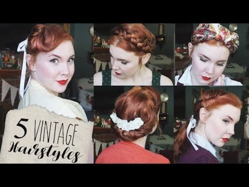 """<div class=""""photoCaption"""">5 Quick & Easy Vintage Hairstyles for Natural/Straight Hair! - YouTube</div>"""